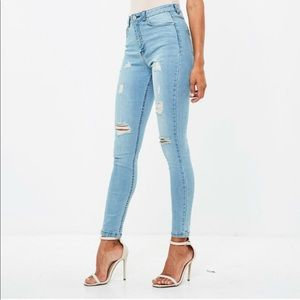 Missguided Jeans - Misguided blue high rise sinner jeans